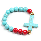 Simple Style Single Strand Blue Turquoise Red Blood Stone Beads Stretch/ Elastic Bracelet With Cross Charm