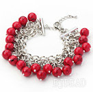 Red Series 10mm Round Alaqueca Bracelet with Metal Chain
