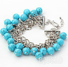 Blue Series 10mm Round Blue Turquoise Bracelet with Metal Chain