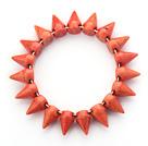 Simple Style Orange Red Color Turquoise Punk Bullet Stretch Bangle Bracelet under $ 40