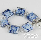 blue and white crystal and colored glaze bracelet under $ 40