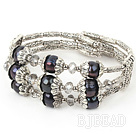 7 inches 8-9mm black pearl bangle