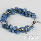 single strand blue aventurine chips bracelet with adjusable chain under $5