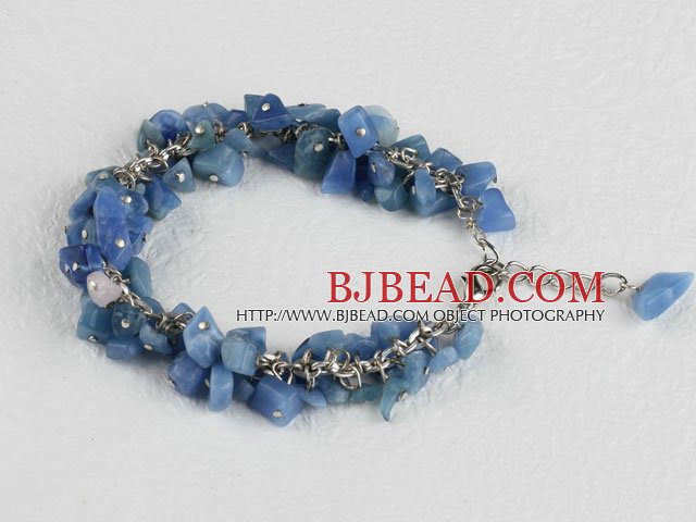 single strand blue aventurine chips bracelet with adjusable chain