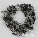 multi strand black rutilated quartz bracelet