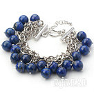 Dark Blue Series 10mm Round Lapis Bracelet with Metal Chain