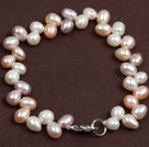 Classic Design Ear Of Wheat Shape Natural Freshwater Pearl Bracelet With Lobster Clasp