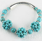 7.9 inches blue turquoise stone bangle bracelet