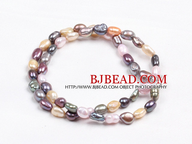 Elegant Double Layer Natural Multi Color Freshwater Baroque Pearl Bracelet