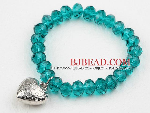 Simple Design Lake Green Crystal Elastic Bangle Bracelet