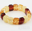 Yellow Series Imitation Amber Square Elastic Bangle Bracelet