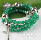 20.5 inches 8mm faceted green agate wrap bangle bracelet with cross charm