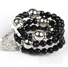 20.5 inches 8mm faceted black agate wrap bangle bracelet with cross charm under $ 40