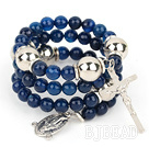 20.5 inches 8mm faceted blue agate bangle bracelet with cross charm