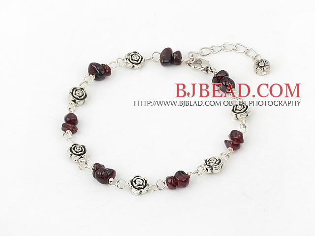 simple and fashion garnet bracelet with lobster clasp
