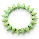 Simple Style Apple Green Color Turquoise Punk Bullet Stretch Bangle Bracelet