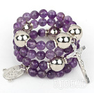 20.5 inches 8mm faceted amethyst wrap bangle bracelet with cross charm