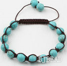 8mm Burst Pattern Turquoise Weaved Beaded Drawstring Bracelet with Adjustable Thread
