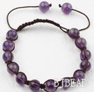 8mm Amethyst Woven Drawstring Bracelet with Adjustable Thread under $ 40