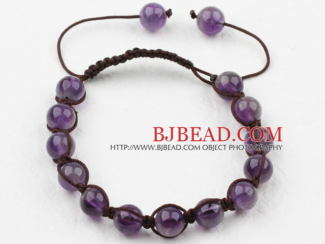 8mm Amethyst Woven Drawstring Bracelet with Adjustable Thread