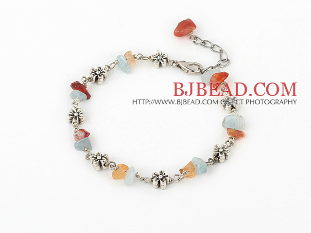 natual agate and aquamarine bracelet with extendable chain