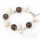 white pealr and smoky quartz bracelet with lobster clasp