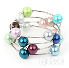 12mm round colorful acrylic beaded bangle under $ 40