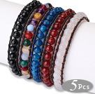 Newly Fashion Design 5 pcs Single Strand Agate Beaded Leather Bracelets