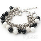 Black Series Round Black Agate and White Porcelain Stone Bracelet with Metal Chain under $ 40