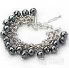 Black Series Round Black Tungsten Steel Stone Bracelet with Metal Chain