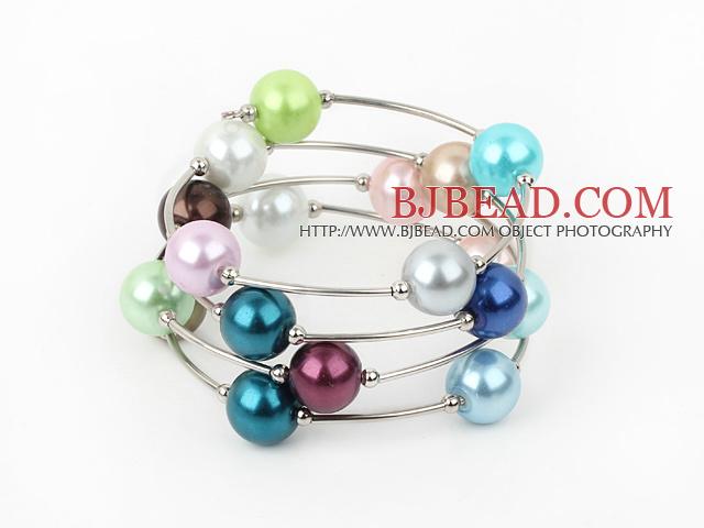12mm round colorful acrylic beaded bangle