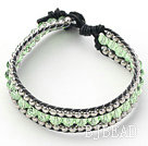 Light Green Crystal and Silver Color Beads Woven Bracelet with Black Leather Cord