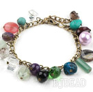 Assorted Multi Color Multi Stone Bracelet with Bronze Chain