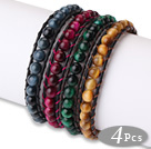 Amazing 4 pcs Single Strand A Grade Natural Round Tiger's Eye Beaded Leather Bracelet