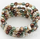 Multi Color Freshwater Pearl Wrap Bangle Bracelet