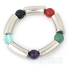 14mm round colorful jade and silver color tube bracelet/bangle
