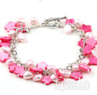 Hot Pink Series Pink Pearl and Shell Flower Bracelet with Metal Chain