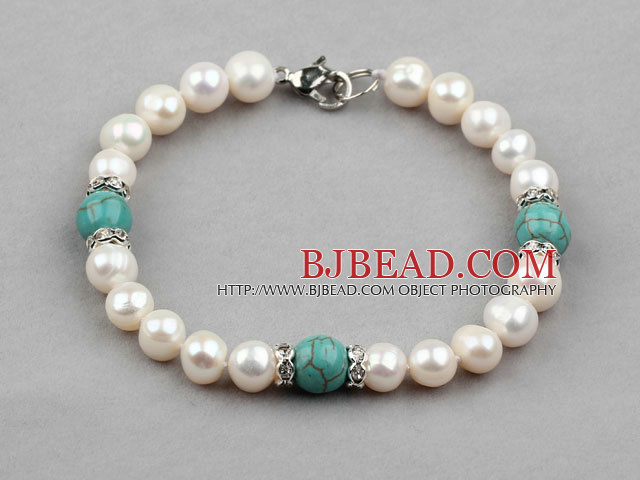 White Freshwater Pearl and Turquoise Bracelet