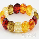 Multi Color Imitation Amber Elastic Bangle Bracelet