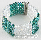 Multi Strand Green and White Manmade Crystal Elastic Bangle Bracelet