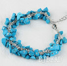 7.5 inches blue turquoise chips beaded bracelet with extendable chain