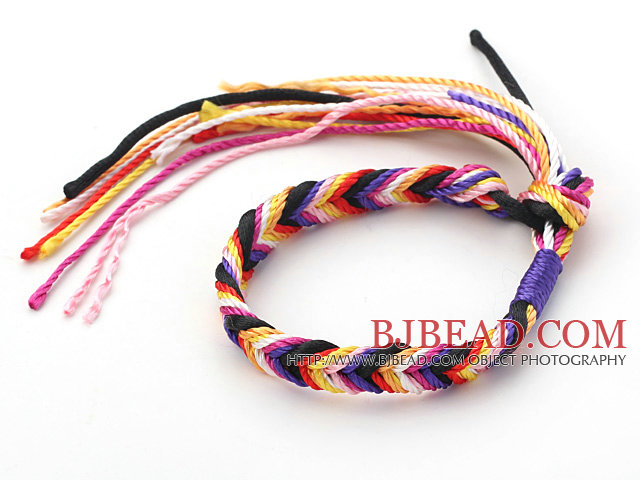 Multi Color Wish Thread Adjustable Woven Bracelet