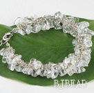 7.5 inches clear crystal chips beaded bracelet with extendable chain under $5