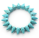 Simple Style Blue Green Color Turquoise Punk Bullet Stretch Bangle Bracelet