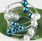 7.5 inches white and blue 12mm shell beads bangle bracelet