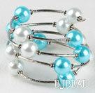 7.5 inches white and sea blue 12mm shell beads bangle bracelet  under $4