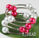 7.5 inches white and red 12mm shell beads bangle bracelet