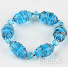 elastic 7.5 inches blue colored glaze and crystal bracelet under $ 40