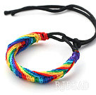 Fashion Style Multi Color Wish Thread Adjustable Woven Bracelet with Black Cord