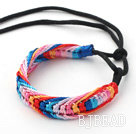 New Style Multi Color Wish Thread Adjustable Woven Bracelet with Black Cord